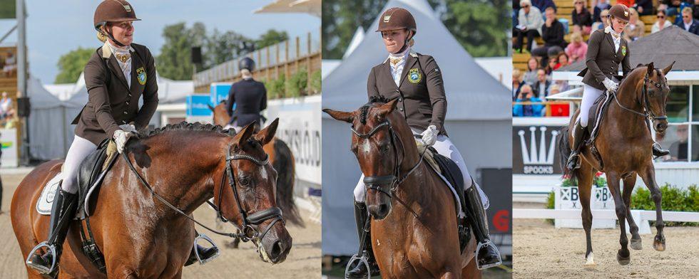 Jeanna Högberg med stona Astoria och Kaikoura, båda till final. Foto:Kim C Lundin