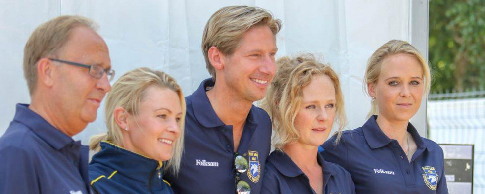 Bo Jenå med sin trupp, från vänster Jeanna Högberg, Patrik Kittel, Juliette Ramel och Antonia Ramel. Foto: Kim C Lundin