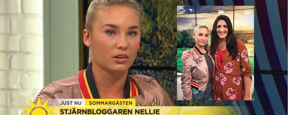 Nellie Berntsson i TV4 Nyhetsmorgon med programledaren Soraya Lavasani.