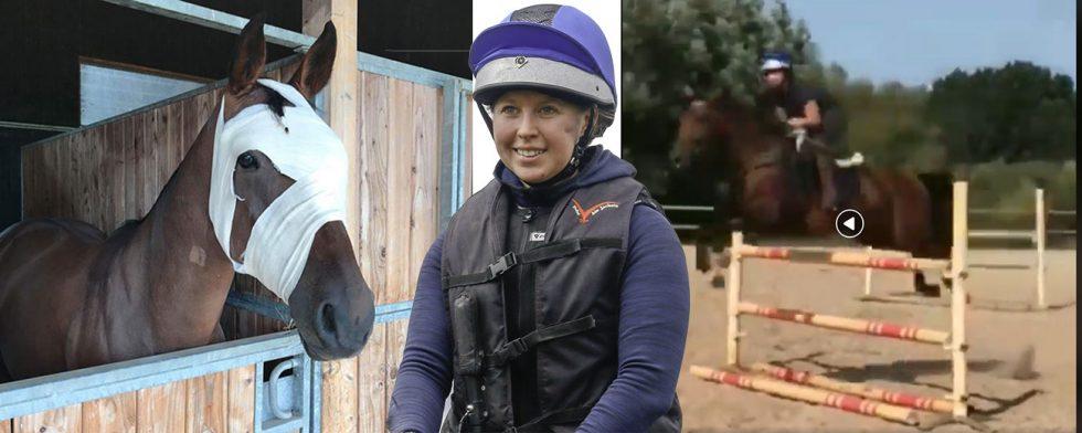 Jag är överlycklig, säger Therese Viklund efter att ha hoppat första rundan med sin numera enögda tävlingshäst Viscera. Foto: Privat/ Kim C Lundin