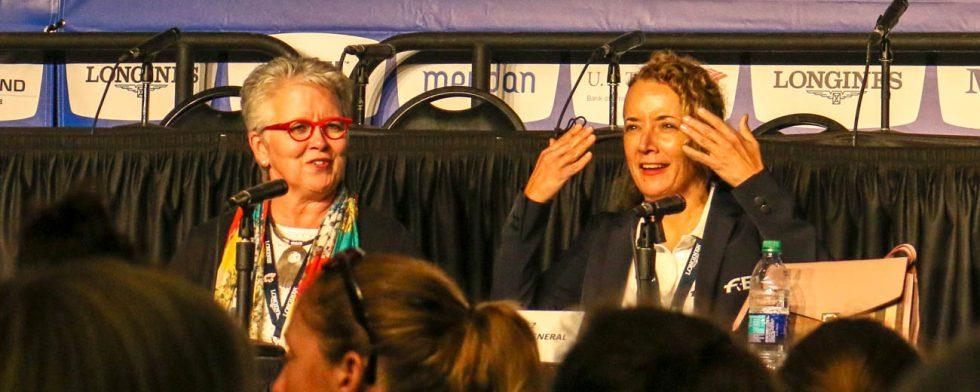 Organisationen på VM har gigantiska problem, här Tryons vd Sharon Decker och FEI:s generalsekreterare Sabrina Ibanez Foto: Kim C Lundin