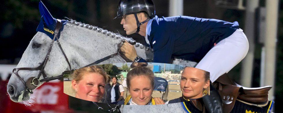 Felfrie Peder Fredricson och Catch Me Not S med lagryttarna Stephanie Holmén, Irma Karlsson och Jonna Ekberg i förgrund.