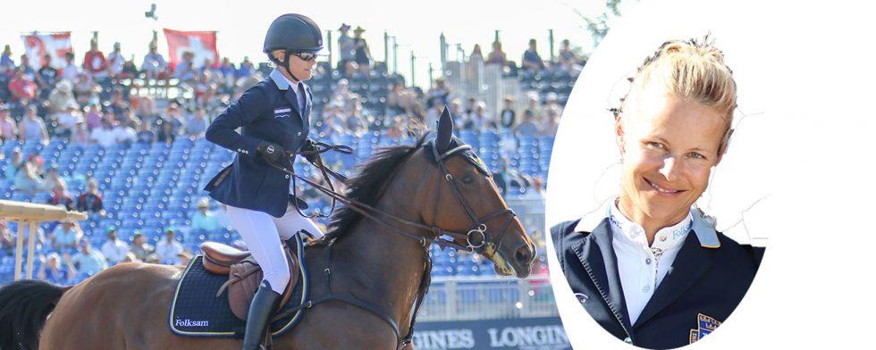 Malin Baryard Johnson och H&M Indiana efter målgång på VM Foto: Kim C Lundin