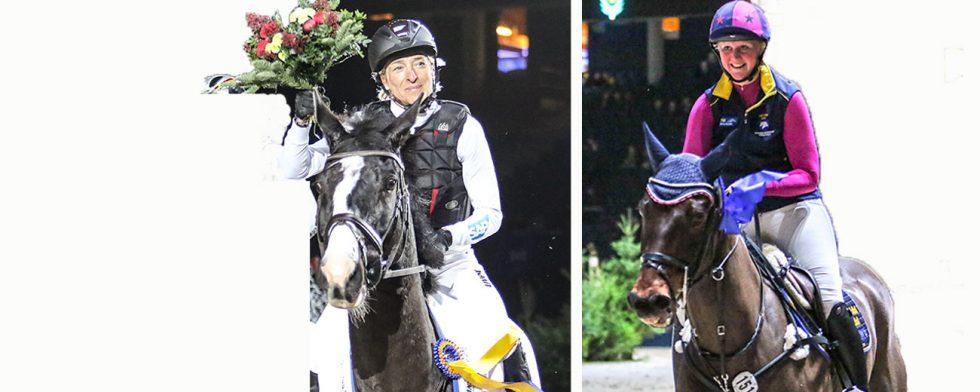 En glad segrare Ingrid Klimke på snabbe Parmenides och Hanna Berg med Jagular Pooh. Foto: Kim C Lundin