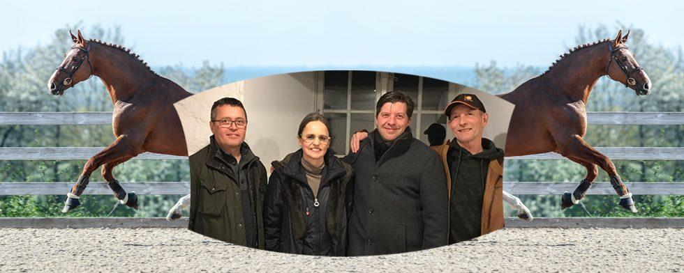 En av Blädde Hårds hingstar i bakgrunden Hooch DK Z och det nya gänget: vfrån vänster Olle Friholm, Lena Nersing, Tobias Larsson och Krister Svedberg. Foto: Kim C Lundin