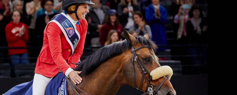 Beezie Madden och Breitling vid segern i världscupfinalen 2018. Foto FEI/Liz Gregg.