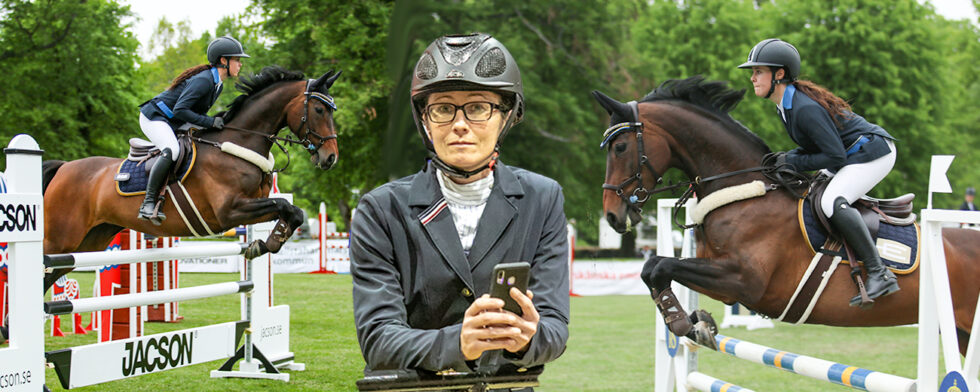 Magdalena Regårdh är redo för tävling, på Strömsholms fina gräsbana hoppade Saga Wahlman med Mocca som var broddad för rätt grepp. Foto: KimC.nu by Kim C Lundin