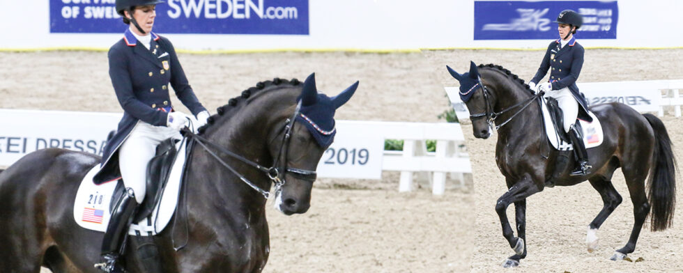 Kasey Perry-Glass och Gørklintgards Dublet under världscupfinalen i Göteborg 2019 under det som blev deras sista internationella start Foto: KimC.nu by Kim C Lundin