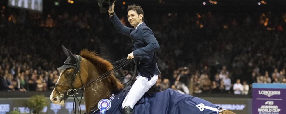 Steve Guerdat vid segern i världscupen i Bordeaux 2020
